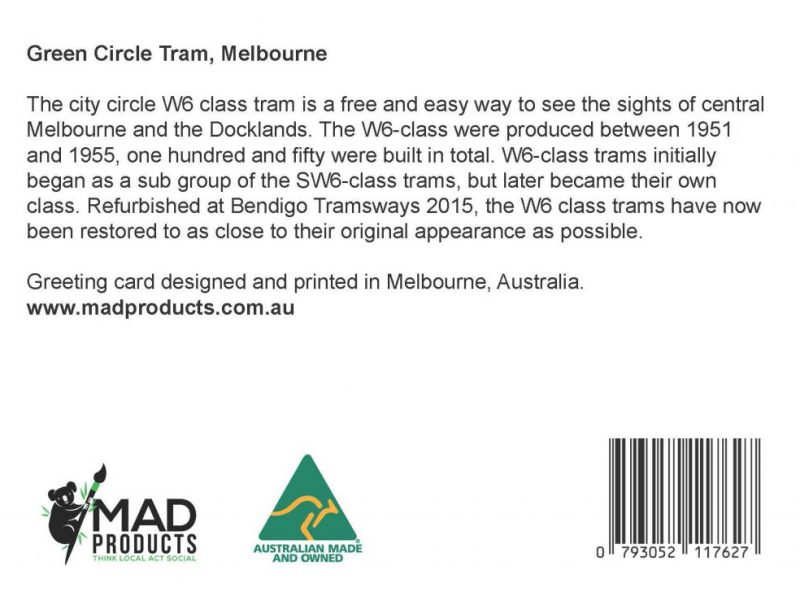 GreetingCards_Melbourne_Tram_MADproducts_A6 SizeBack