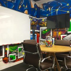 Conference room designed with Melbourne graffiti theme