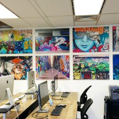 Corporate graffiti wall pictures customised on wood