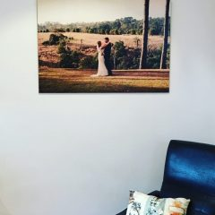 Wedding picture customised on wood.