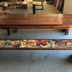 Graffiti custom bench seats with red gum table