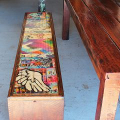 Custom graffiti outdoor bench seats with red gum table