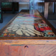 Custom graffiti red gum bench seat