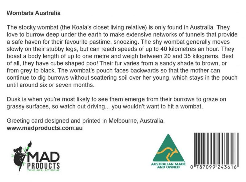 GreetingCards_Melbourne_Wombat_MADproducts_A6 SizeBack